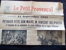 LE PETIT PROVENCAL -  ARTICLE - Village De  PEYNIER 13 - Maire Vincent DELPUECH - Legion D'honneur- Septembre 1935 - Newspapers
