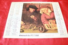 CALENDRIER  ALMANACH Des  PTT  1981 - Big : 1981-90
