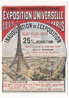 CPM Reproduction D'Affiche Ancienne EXPOSITION UNIVERSELLE DE PARIS 1889 Chemins De Fer PLM Tour Eiffel - Trains