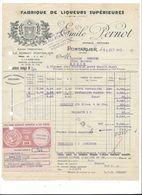 F75 -  Fabrique De Liqueurs Supérieurs Emile Pernot Pontarlier Facture En 1953 Avec Vignette - Food