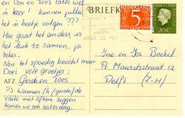 15-9-1972 Bijgefrankeerde Bk G342  Van Alkmaar Naar Delft - Postal Stationery