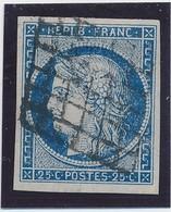 25 C Bleu Foncé N° 4 Obl Grille Noire TB. - 1849-1850 Cérès