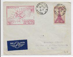 """1939 - ENVELOPPE Par AVION """"1° LIAISON AERIENNE DE NUIT""""  PARIS => PAU - 1927-1959 Lettres & Documents"""
