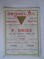 Vloeipapier Buvard Driesel Motor Oil L'huile Olie P. Dries Deurne Form 12,4 X 16,2 Cm Gebruikt Utilisé - Brandstoffen