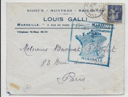"""1939 - ENVELOPPE Par AVION """"1° LIAISON AEROPOSTALE DE NUIT""""  PARIS => MARSEILLE - RETOUR En BLEU - 1927-1959 Lettres & Documents"""