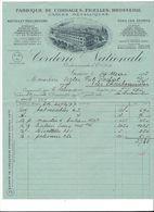 F80 -   Fabrique De Cordages Ficelles Brosserie Corderie Nationale Genève Facture En 1925 - Suisse