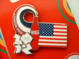Pin's J.O LONDRES 2012 - COCA COLA - DRAPEAU ETATS UNIS - Olympic Games