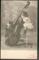 Musique - 2 Enfants  Jouant Avec Une Contrebasse - Postkaarten