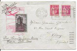 """1939 - ENVELOPPE Par AVION """"1° SERVICE AERIEN FRANCE - USA"""" - PAIX - ALLER ET RETOUR - Premiers Vols"""