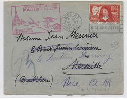 """1938 - ENVELOPPE Par AVION """"1° LIAISON POSTALE AERIENNE"""" PARIS => NICE - Poste Aérienne"""