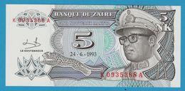ZAIRE 5 Nouveaux Makuta  (Joseph Désiré) Mobutu 24.06.1993K 0935388 A P# 48 - Zaire