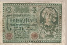 ALLEMAGNE /GERMANY /  N° 68  Billet De 50 Mark Du 23.7.1920. Vert Foncé Et Vert - [ 3] 1918-1933 : Weimar Republic
