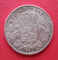 BELGIQUE LEOPOLD II 5 FRANCS 1871  Monnaie - 1865-1909: Leopold II