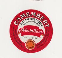 ETIQUETTE (T)  DE CAMEMBERT MEDALLION FERMIERS REUNIS - Cheese