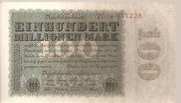 ALLEMAGNE / GERMANY / N° 107 Billet De 100 Millionen Mark Du 22.8.1923. Noir Sur Fond Bleu-vert Et Olive-brun. - [ 3] 1918-1933 : Weimar Republic