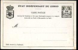 CONGO Postal Card #4  10 Cent. Mint Vf 1889 - Ganzsachen