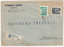 Yugoslavia, Chamber Of Commerce Letter Cover Registered Travelled 1945 Beograd Pmk B180220 - Covers & Documents