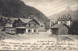 CPA Suisse Les Avants Sur Montreux Train En Gare Cachet Hôtel De Jaman Circulée 1904 - VD Vaud