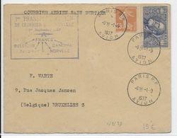 """1937 - ENVELOPPE Par AVION """"1° COURRIER AERIEN SANS SURTAXE"""" FRANCE => BELGIQUE - Poste Aérienne"""