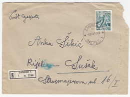 Yugoslavia, Letter Cover Registered Travelled 1953 Zagreb To Rijeka B180220 - 1945-1992 Socialist Federal Republic Of Yugoslavia
