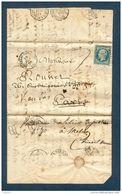 Lettre-N°14-Cachet Bruyères En Vosges-Redirigée-Plusieurs Cachet Ambulants Au Dos - Marcophilie (Lettres)