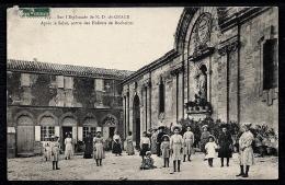 CPA ANCIENNE FRANCE- ROCHEFORT (30)- L'ESPLANADE DE N.D. DE GRACE- SORTIE DES ENFANTS- TRES BELLE ANIMATION GROS PLAN - Rochefort-du-Gard