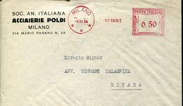 31016  ITALIA, Red Meter/freistempel/ema/ Milano 1934 Acciai Poldi Milano, Circuled Cover - Affrancature Meccaniche Rosse (EMA)