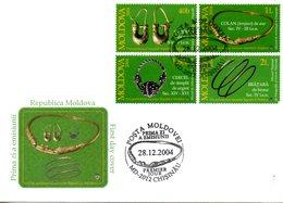 MOLDAVIE. N°430-3 De 2004 Sur Enveloppe 1er Jour. Bijoux. - Arqueología