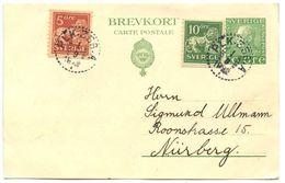 Sweden 1922 Uprated 10ö  King Gustaf V Postal Card W/ PLK 356 A Postmarks - Postal Stationery