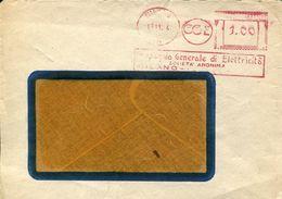 31021 ITALIA, Red Meter/freistempel/ema/ Milano 1944 Compagnia Generale Elettricità CGE , Circuled  Cover - Affrancature Meccaniche Rosse (EMA)
