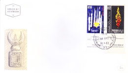 ISRAEL : FIRST DAY COVER : 30-04-1962 : ISSUED FROM JERUSALEM : HEROES AND MARTYRS DAY : USE OF TAB STAMPS - Israël