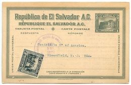 El Salvador 1927 Uprated 1c. National Theater Postal Card San Salvador To Bloomfield NJ - El Salvador