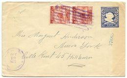 El Salvador 1925 Uprated 6c Columbus Postal Envelope To Hillburn, New York - El Salvador
