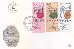 ISRAEL : FIRST DAY COVER : 04-09-1957 : ISSUED FROM JERUSALEM : ISRAEL INCIENT COINS : USE OF TAB STAMPS - Israel