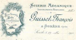 1910 Scierie Instruments Aratoires / Bois Tournés & De Charronnage / François GUISSET Sorède Pyrénées/ Machine Agricole - Agriculture