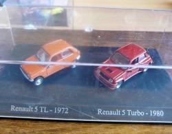 RENAULT 5 TL 1972 ORANGE R5 TURBO 1980 DUO METAL UNIVERSAL HOBBIES  ATLAS ECH 1/87 HO 2 SCAN - Scale 1:87
