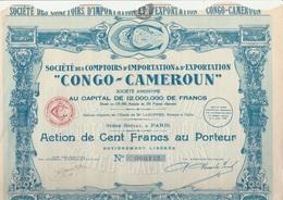 """ACTION DE 100 FRS STE DES COMPTOIRS D'IMPORTATION ET D'EXPORTATION  """"CONGO- CAMEROUN"""" 1928 - Afrique"""