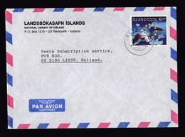 Iceland: Airmail Cover To Netherlands, 1990, 1 Stamp, European Union, EU, Map, Logo, Bird (traces Of Use) - 1944-... Republique