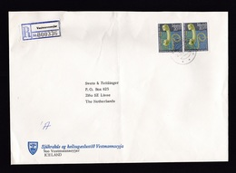 Iceland: Registered Cover To Netherlands, 1986, 2 Stamps, Telephone, R-label Vestmannaeyjar (minor Damage, See Scan) - 1944-... Republique