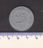 Monnaie Necessité Hérault (34) .. 25 C  Syndicat Alimentation Aluminium 1921 - Monetary / Of Necessity