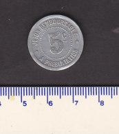 _ Monnaie Necessité Hérault (34) .. 5 C  Syndicat Alimentation Aluminium 1922 - Monétaires / De Nécessité