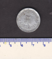 Monnaie Necessité Hérault (34) .. 5 C  Syndicat Alimentation Aluminium 1921 - Monetary / Of Necessity