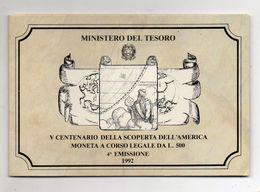 Italia - 1992 - 500 Lire V° Centenario Della Scoperta Dell'America - IV^ Emissione - Argento 835 - In Folder - (FDC8418) - 500 Lire