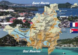 1 Map Of Caribbean Island Sint Maarten And Saint Martin * 1 Landkarte Von Der Karibikinsel Sint Maarten Und Saint Martin - Landkarten