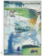 Postcard Map Of Yellowstone National Park PU 1998 My Ref  B22316 - Maps