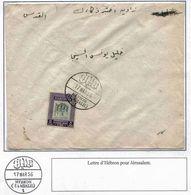 Palestine Palastina Cisjordanie Jordanie Lettre Cover Carta Belege Hebron 1956 Jerusalem - Palestine