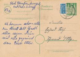 FLOSS  - 1951 ,  HOLSTENTOR ,    Antwort-Postkarte  , Reply Post Card - BRD