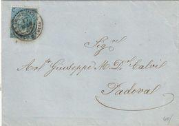 PIEGO DA VENEZIA SANTA LUCIA A PADOVA DEL 17/04/1867 ANNULLATO CON C. 20 SU 15 FERRO DI CAVALLO II° TIPO - SASSONE N. 24 - Storia Postale