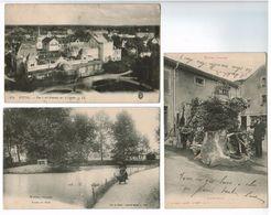 88P3/3  LOT DE 3 CPA  De VITTEL  : Vue Vol D'oiseau Sur Le Casino - Rtang Du Parc - Source Magic 1915 - Vittel Contrexeville