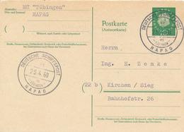 DEUTSCHE SCHIFFSPOST / MS TÜBINGEN - 1960 ,  Heuss ,    Postkarte , Post Card Nach Kirchen / Sieg - BRD